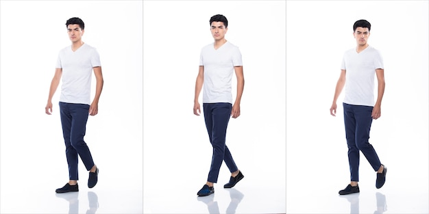 Jovem homem caucasiano em uma área vazia em branco t-shirt jeans ficar em pé e andar virando a cabeça olhando com o sentimento de sorriso feliz forte, fundo branco isolado, conceito de grupo de colagem de corpo inteiro