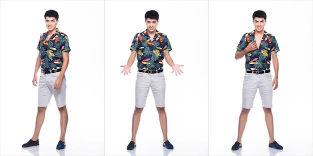 Jovem homem caucasiano no verão tropical impresso camisa polo branca curta e pose em muitas ações com um sorriso feliz e forte, fundo branco isolado, conceito de grupo de colagem de corpo inteiro