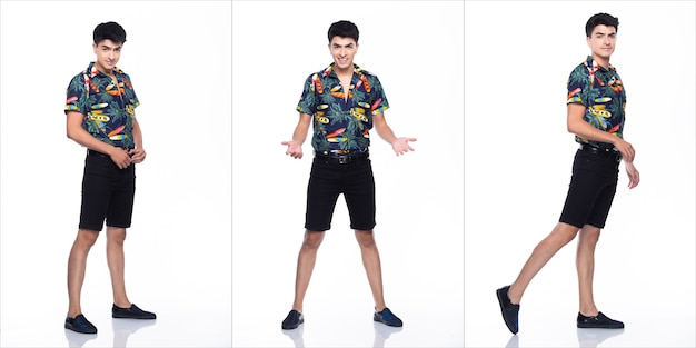 Jovem homem caucasiano no verão tropical impresso camisa polo preta curta e caminhada em muitas ações com sentimento de sorriso feliz e fundo branco forte isolado, conceito de grupo de colagem de corpo inteiro