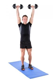 Jovem, homem, mostra, terminando, posição, ombro, imprensa