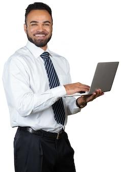 Jovem, homem negócios, segurando, laptop