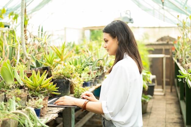 Jovem jardineira de mulheres de negócios usando laptop em estufa de tecnologia moderna em negócios de jardinagem