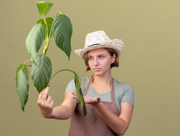 Jovem jardineira eslava sem noção usando um chapéu de jardinagem segurando e apontando para a planta
