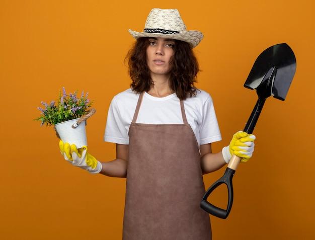 Jovem jardineira insatisfeita de uniforme, usando luvas e chapéu de jardinagem, segurando uma flor em um vaso de flores e uma pá isolada em laranja