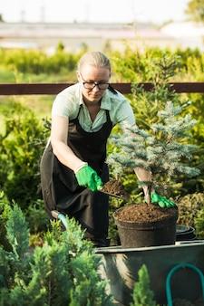 Jovem jardineira transplantando uma planta em solo fértil