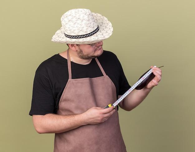Jovem jardineiro confiante usando chapéu de jardinagem, medindo berinjela com fita métrica isolada na parede verde oliva