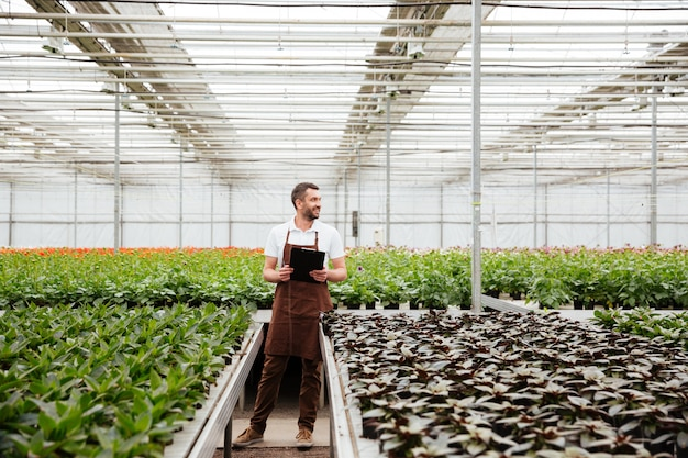 Jovem jardineiro trabalhando com plantas em estufa