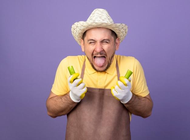Jovem jardineiro vestindo macacão e chapéu em luvas de trabalho segurando pimenta verde quebrada esticando a língua para fora com a sensação de queimar na boca em pé sobre a parede roxa
