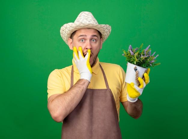 Jovem jardineiro vestindo macacão e chapéu em luvas de trabalho segurando um vaso de planta olhando para a frente com um choque cobrindo a boca com a mão em pé sobre a parede verde