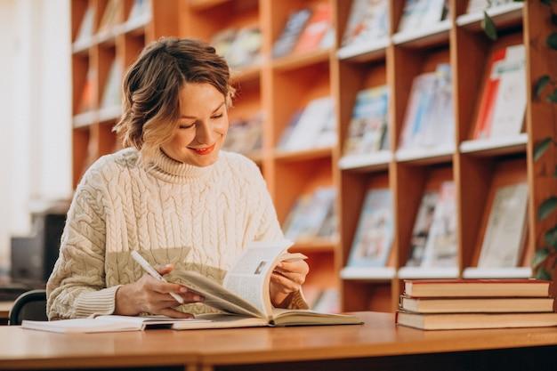 Jovem lendo na biblioteca