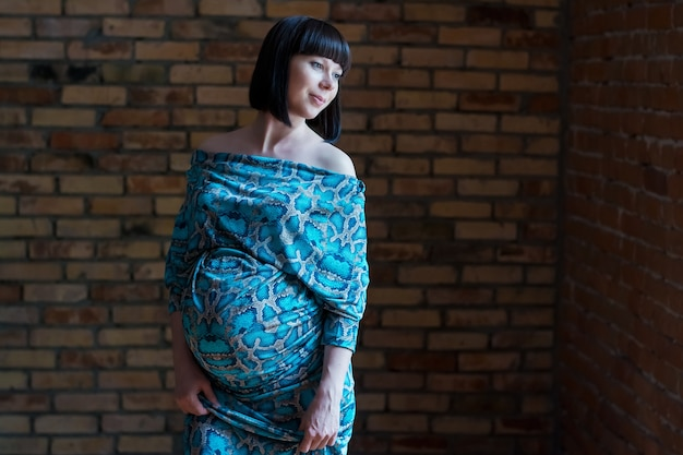 Jovem linda grávida na janela