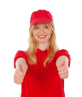 Jovem, loura, mulher, vestido, negociante, com, vermelho, uniformes, dizendo, ok