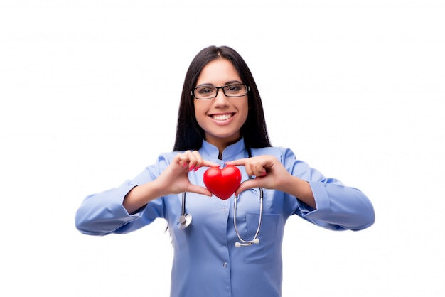 Jovem médico feminino no conceito médico isolado no branco