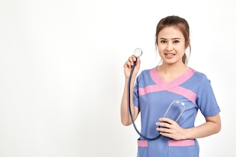 Jovem médico feminino