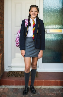 Jovem, menina adolescente, pronto, para, escola