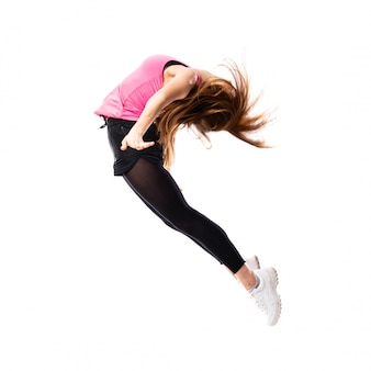 Jovem, menina dança, pular