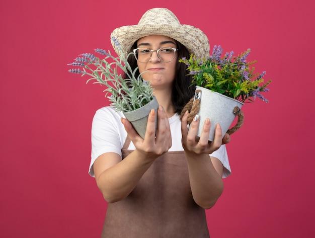 Jovem morena confusa, jardineira feminina, usando óculos óticos e uniforme, usando chapéu de jardinagem, olhando para vasos de flores isolados na parede rosa com espaço de cópia