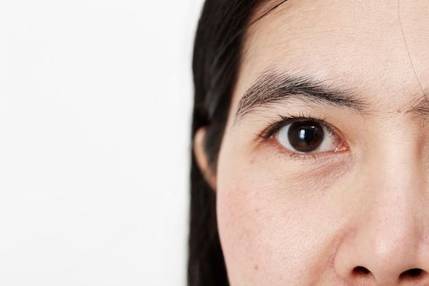 Jovem, mulher asian, rosto, cima