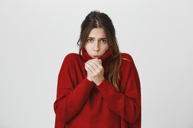 Jovem mulher atraente na camisola sentir frio, soprando ar nas mãos para aquecer