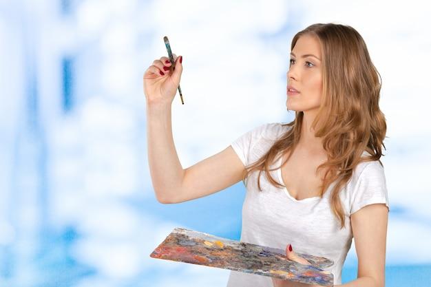 Jovem, mulher bonita, holing, pincel, e, paleta