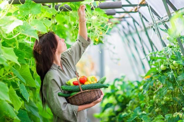 Jovem mulher com a cesta das hortaliças e dos vegetais na estufa. tempo de colheita
