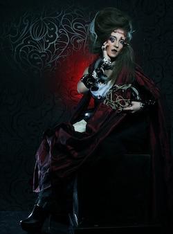 Jovem mulher com maquiagem criativa. tema de halloween. tema zumbi.