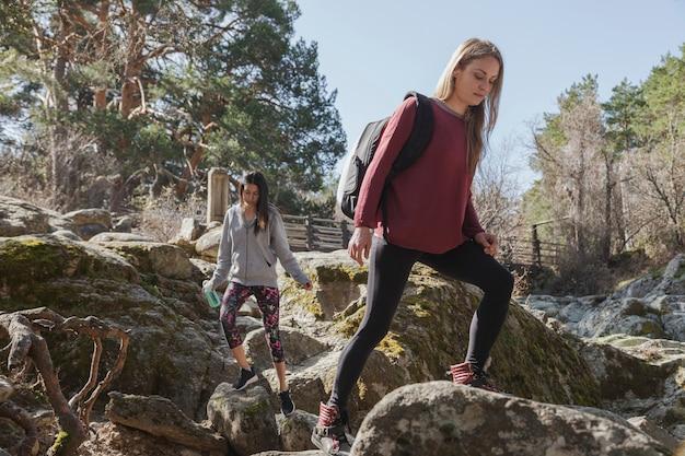 Jovem, mulher, escalando, rocha