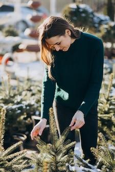 Jovem mulher escolhendo uma árvore de natal em uma estufa