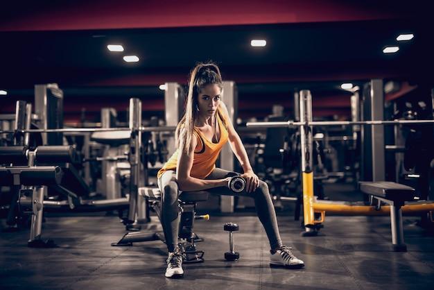 Jovem mulher levantando pesos e sentado no banco enquanto olha para a câmera. luz lateral, interior do ginásio.