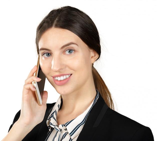 Jovem, mulher negócio, usando, smartphone, isolado