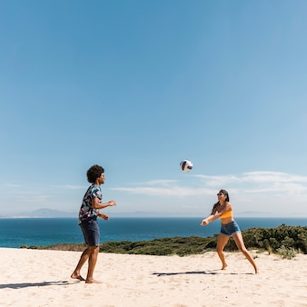 Jovem, multicultural, par, jogando voleibol, ligado, praia
