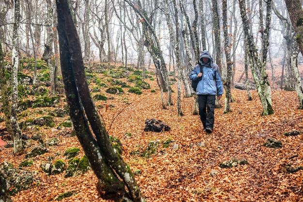 Jovem na floresta de outono com grandes carvalhos