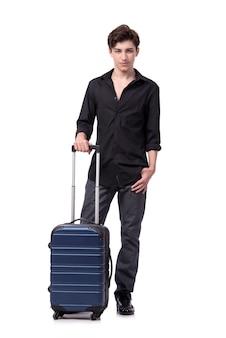 Jovem no conceito de viagens isolado no branco