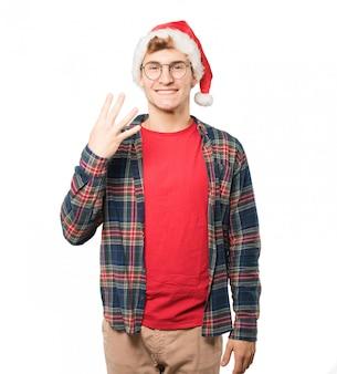 Jovem no natal fazendo gestos