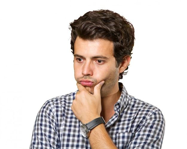 Jovem, pensativo, homem, isolado
