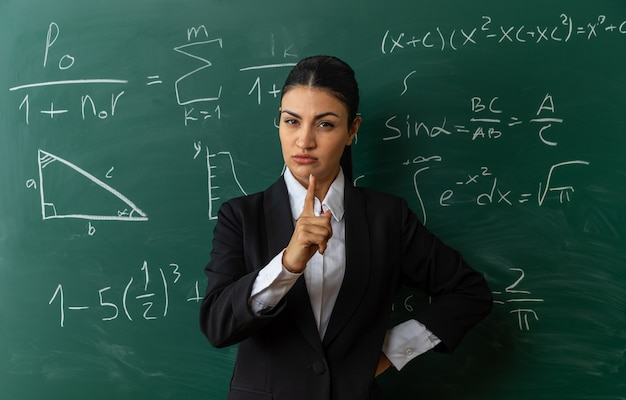 Jovem professora rígida em pé na frente do quadro negro apontando para a frente colocando a mão no quadril na sala de aula