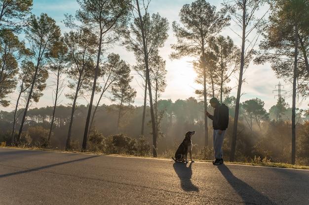 Jovem se divertindo com seu cachorro na natureza com os raios do sol da manhã quente. Foto Premium