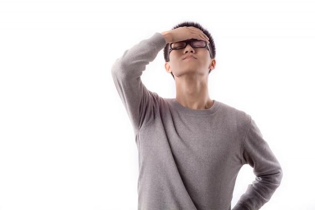 Jovem séria dor de cabeça divertido masculino