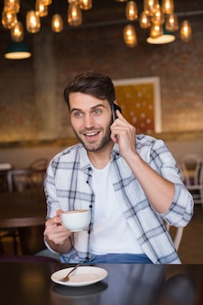 Jovem, ter, xícara, café