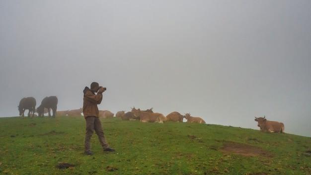 Jovem tirando fotos em uma montanha enevoada com neblina e vacas conceito de fotógrafo de outono