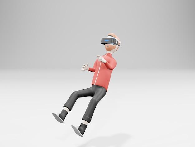 Jovem usando fone de ouvido de realidade virtual
