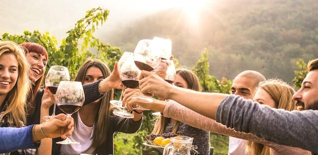 Jovens amigos se divertindo ao ar livre, torrando vinho tinto em uma vinícola