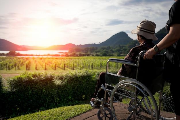 Jovens mulheres asiáticas empurrando a mulher idosa na cadeira de rodas no jardim