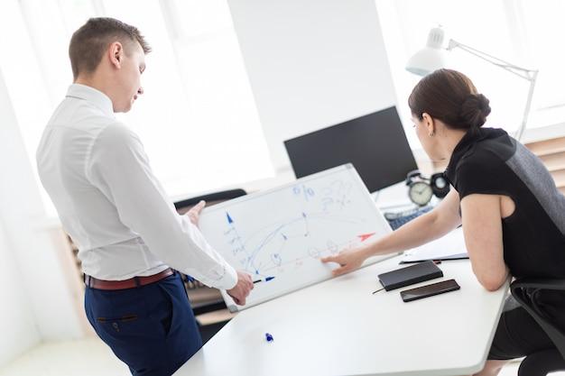 Jovens no escritório discutindo a programação em uma placa magnética.