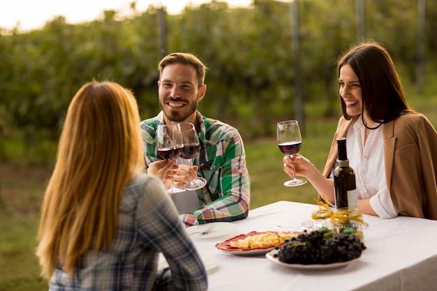 Jovens pela mesa na vinha