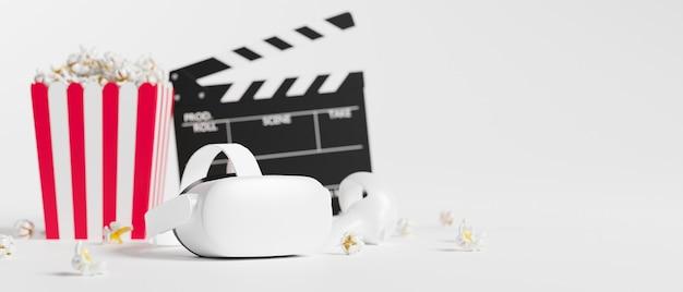 Joysticks de realidade virtual, pipoca, filme, claquete, espaço para texto em fundo branco