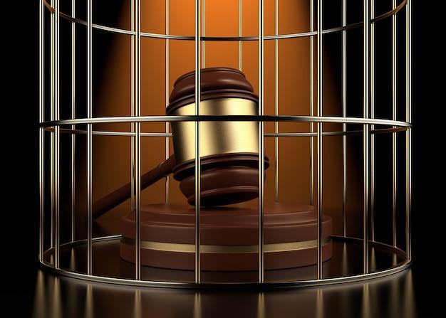 Juiz martela as grades da prisão. conceito de judiciário independente