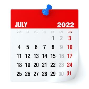 Julho de 2022 - calendário. isolado no fundo branco. ilustração 3d