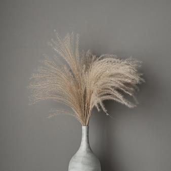 Juncos castanhos, buquê de grama dos pampas em vaso de barro em cinza
