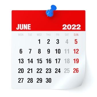 Junho de 2022 - calendário. isolado no fundo branco. ilustração 3d
